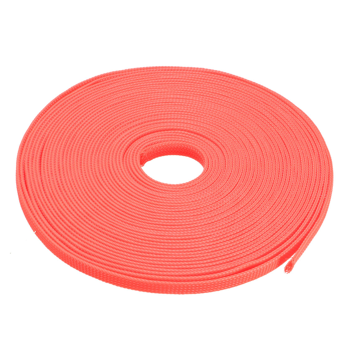 PET Braided Sleeving 32.8 Feet 10m Expandable Cable Wrap 10mm Diameter Wire Sheath Orange