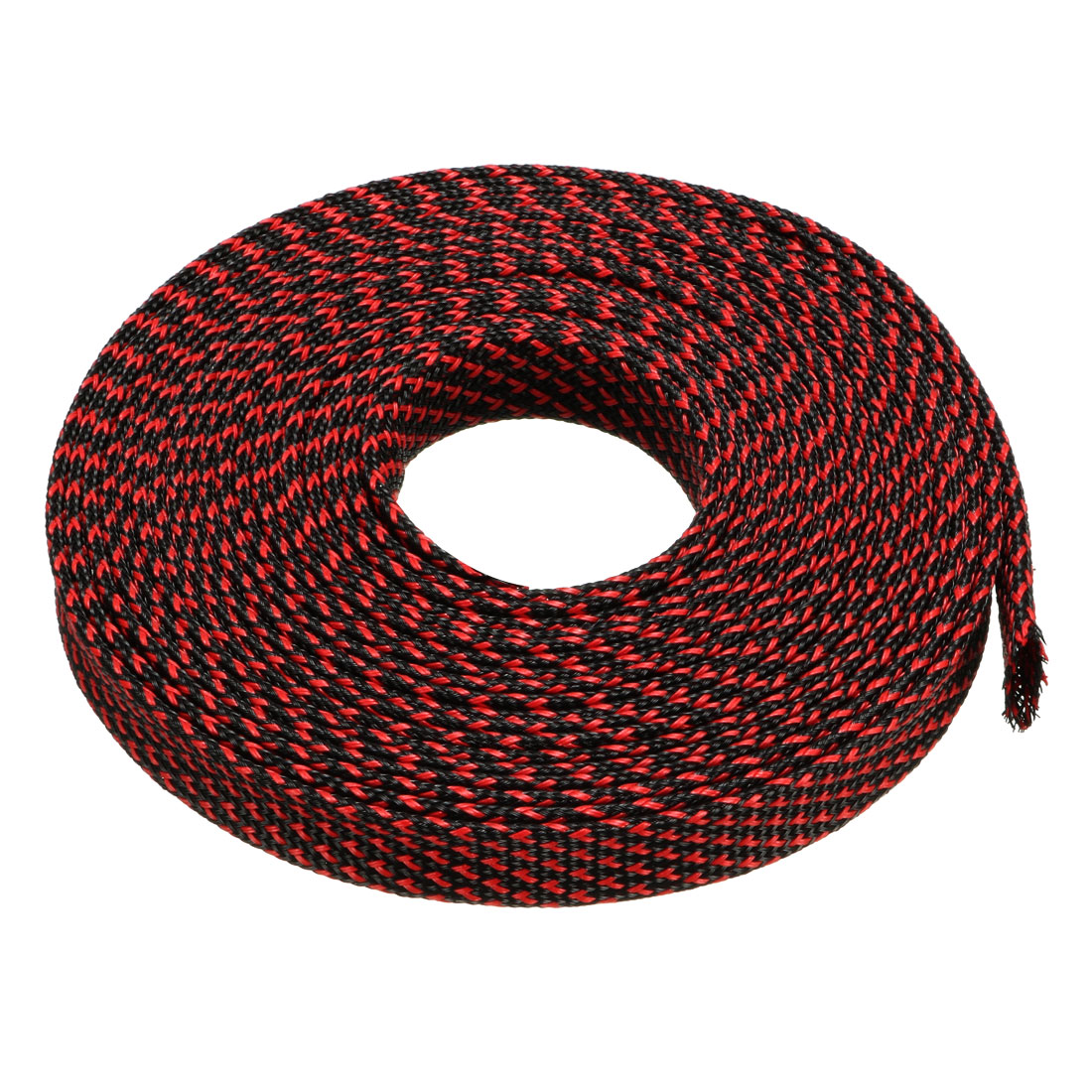 10mm Dia Tight Braided PET Expandable Sleeving Cable Wrap Sheath Black Red 16Ft