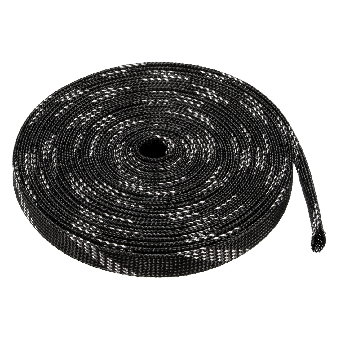 12mm Dia Tight Braided PET Expandable Sleeving Cable Wrap Sheath Black Silver Tone 16Ft