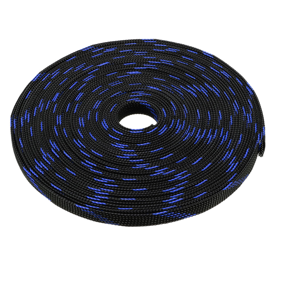 12mm Dia Tight Braided PET Expandable Sleeving Cable Wrap Sheath Black Blue 32ft