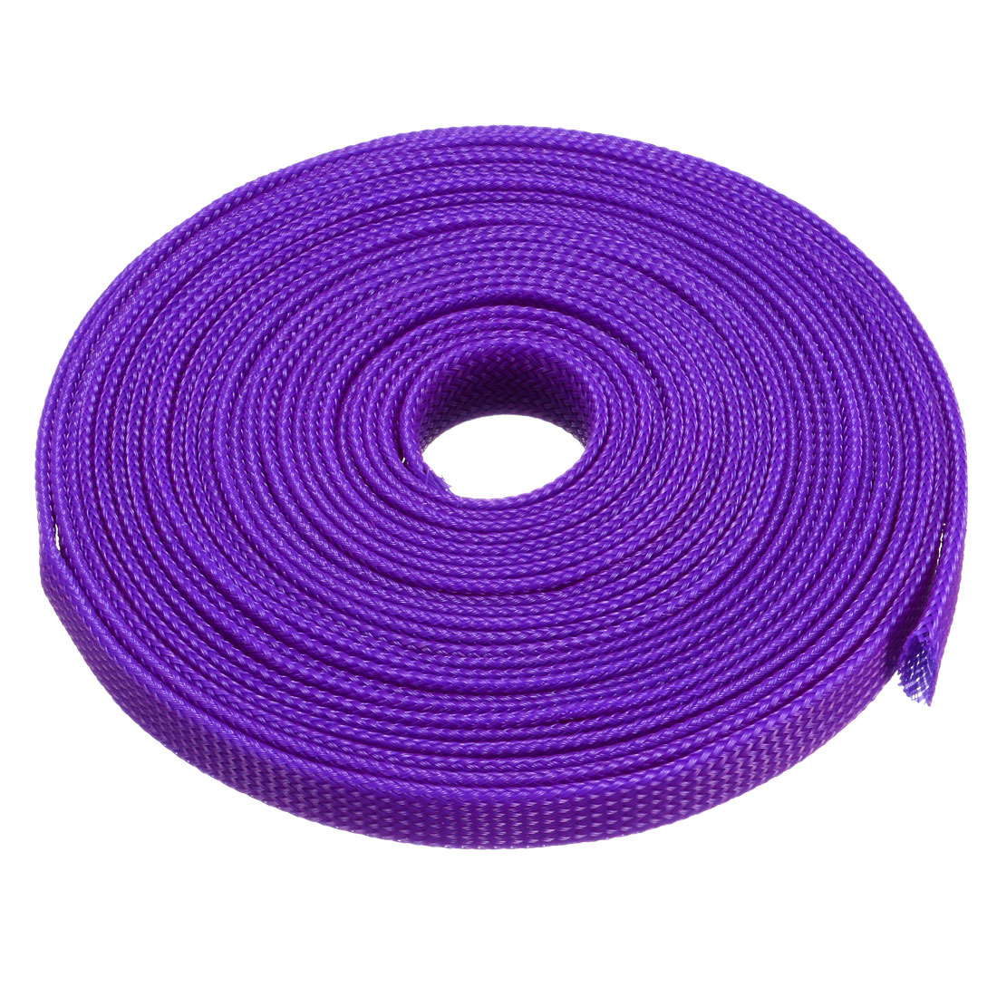 8mm Dia Tight Braided PET Expandable Sleeving Cable Wrap Sheath Purple 16Ft