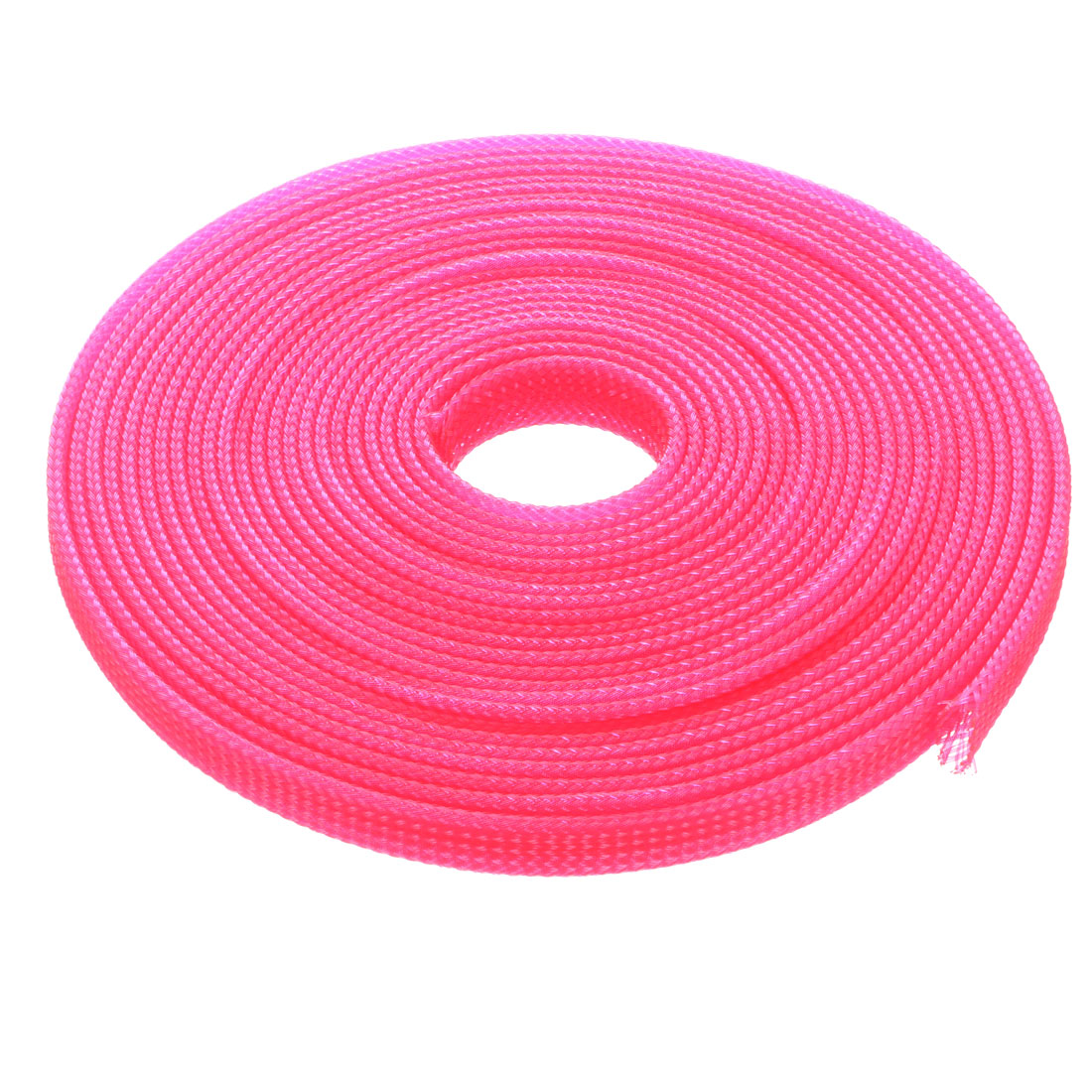 8mm Dia Tight Braided PET Expandable Sleeving Cable Wire Wrap Sheath Pink 5M