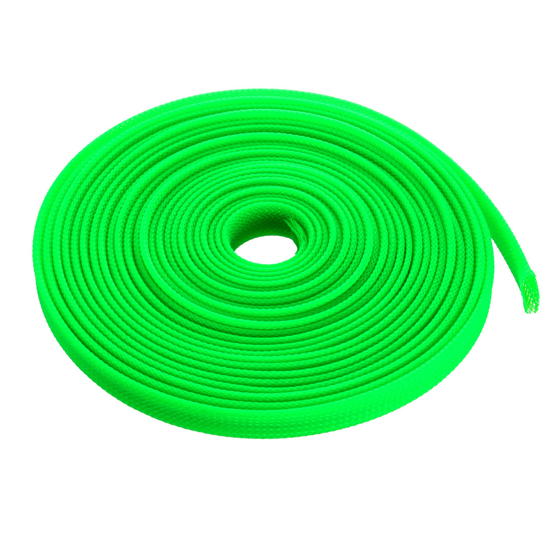 8mm Dia Tight PET Sleeving Cable Wrap Sheath Fluorescent Green 16Ft
