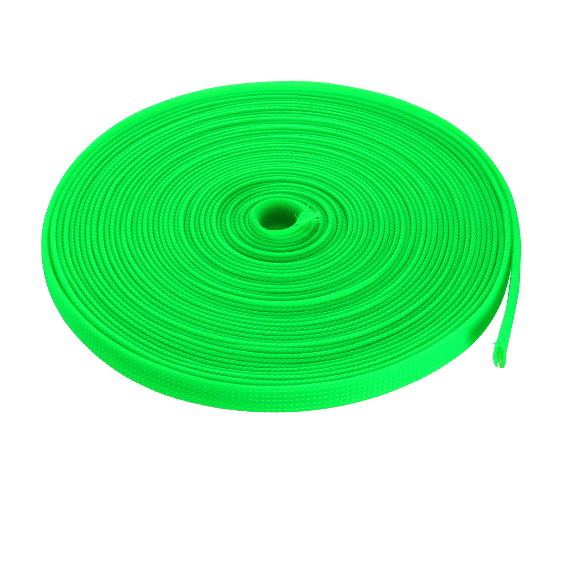8mm Dia Tight PET Sleeving Cable Wrap Sheath Fluorescent Green 32Ft