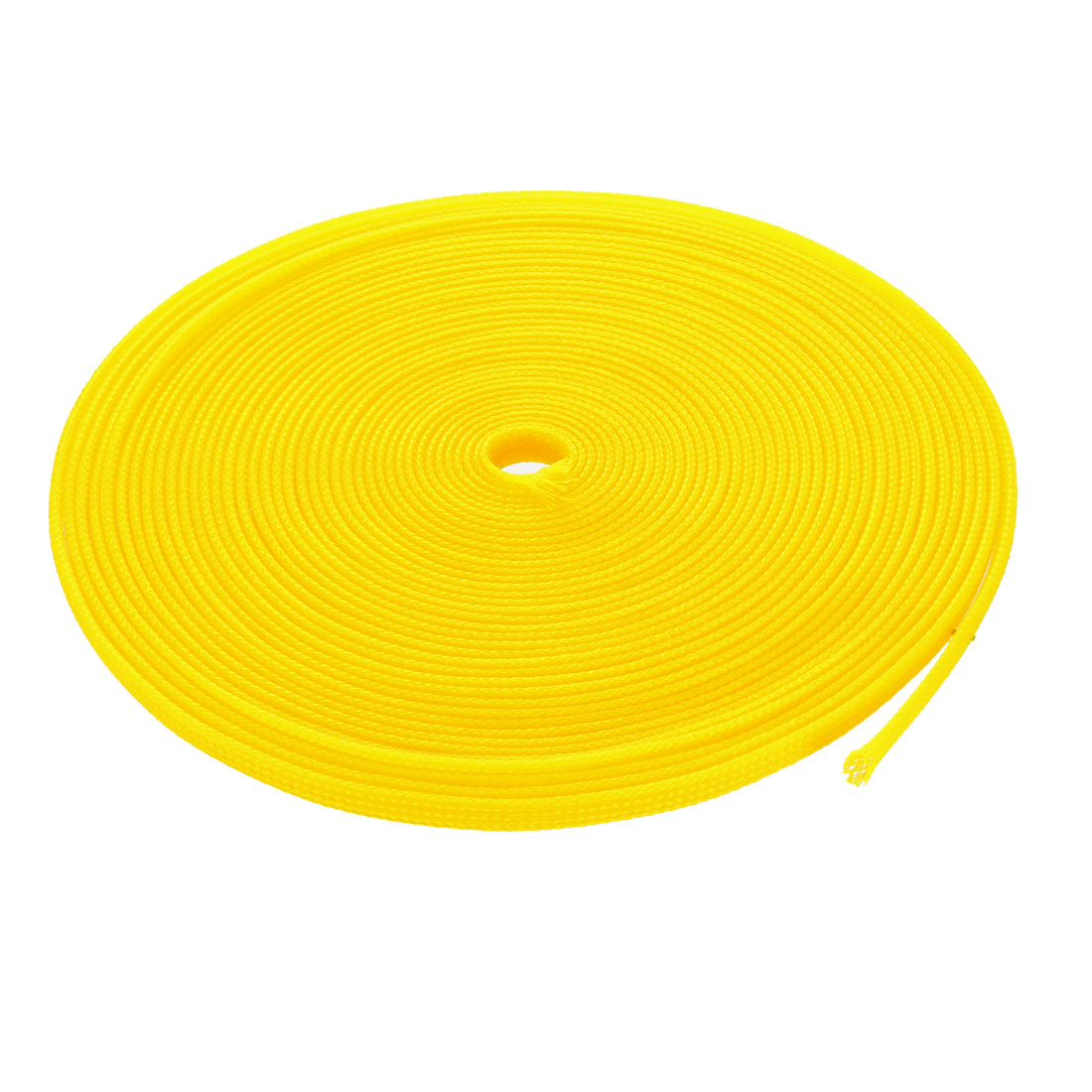 8mm Dia Tight Braided PET Expandable Sleeving Cable Wire Wrap Sheath Yellow 10M