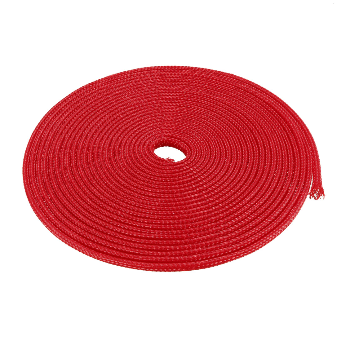 8mm Dia Tight Braided PET Expandable Sleeving Cable Wire Wrap Sheath Red 5M