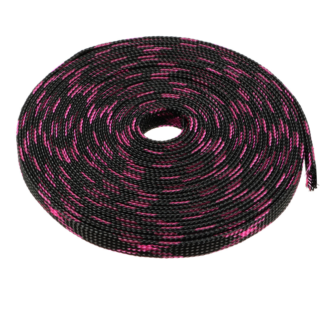 8mm Dia Tight Braided PET Expandable Sleeving Cable Wrap Sheath Black Pink 5M Length