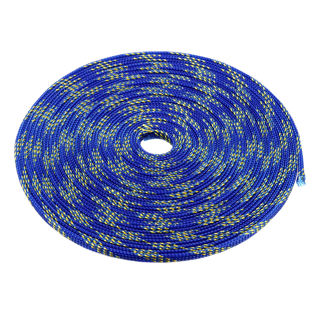 8mm Dia Tight Braided PET Expandable Sleeving Cable Wrap Sheath Golden Blue 32Ft