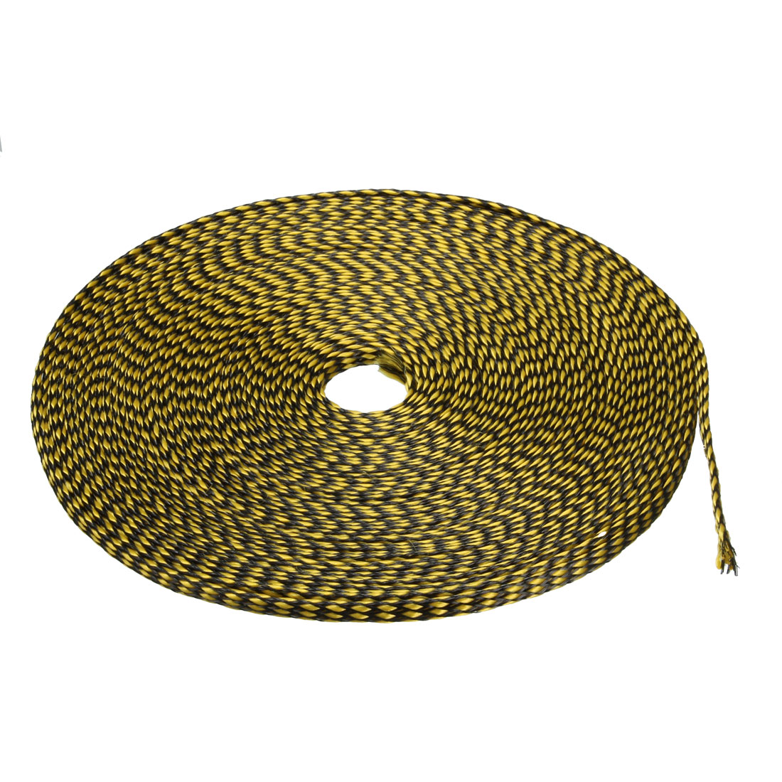 8mm PET Cable Wire Wrap Expandable Braided Sleeving Black Yellow 10M Length