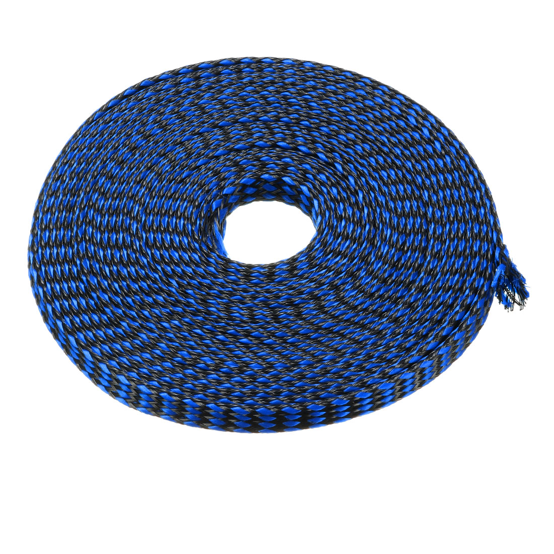 8mm Dia Tight Braided PET Expandable Sleeving Cable Wrap Sheath Black Blue 10M