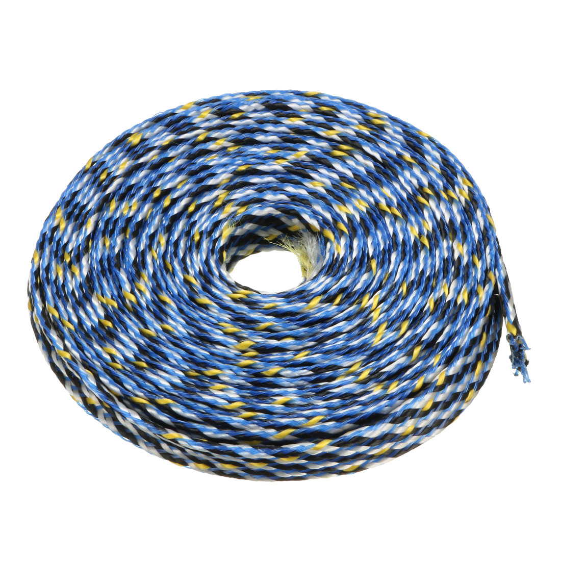 8mm PET Cable Wire Wrap Expandable Braided Sleeving Blue Yellow 5M Length