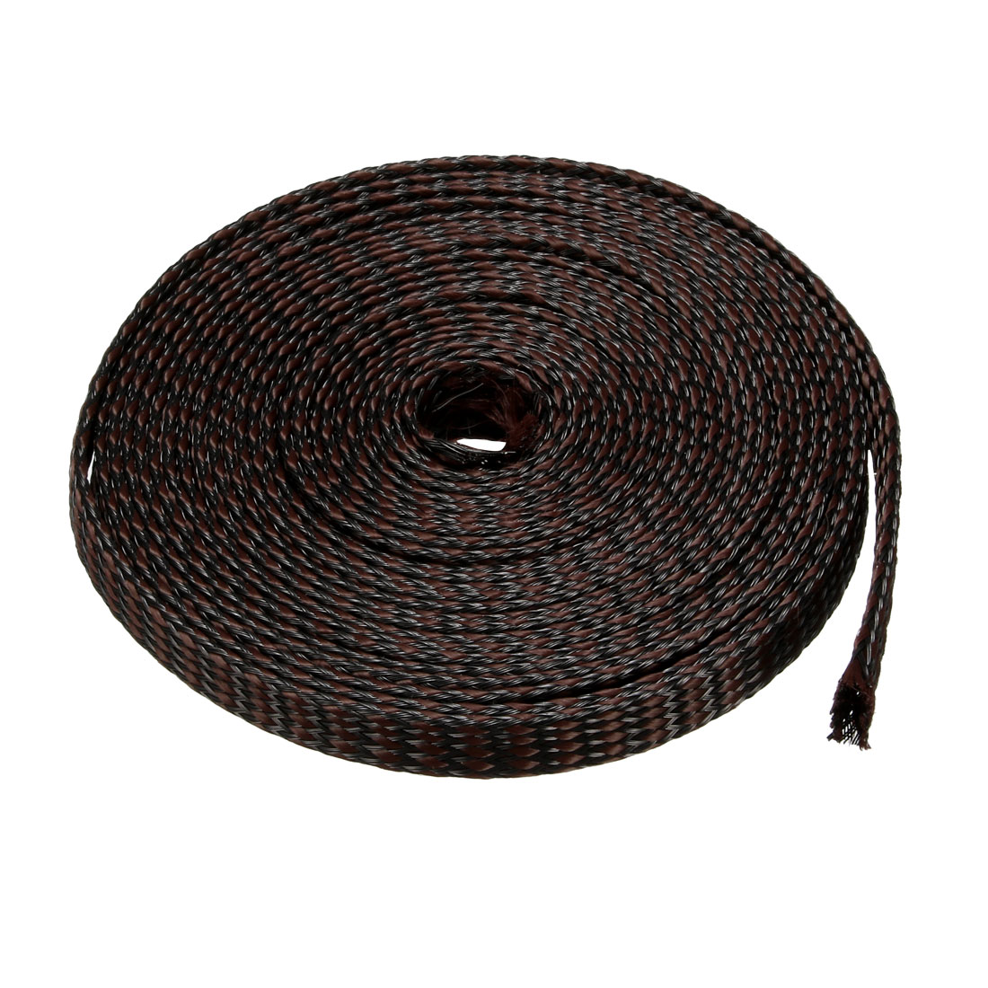 8mm PET Cable Wire Wrap Expandable Braided Sleeving Black Brown 5M Length