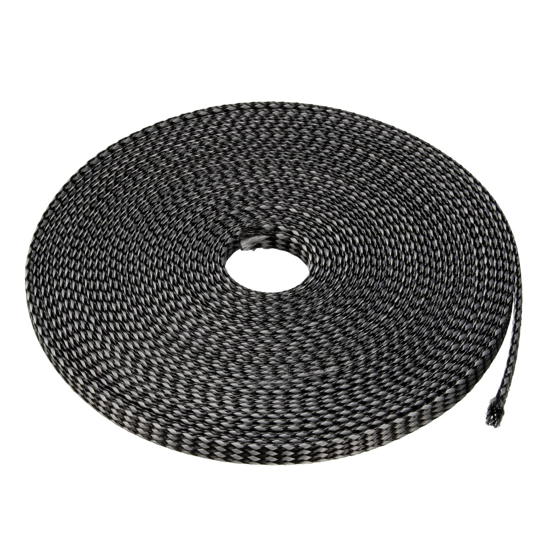 8mm PET Cable Wire Wrap Expandable Braided Sleeving Black Gray 10M Length