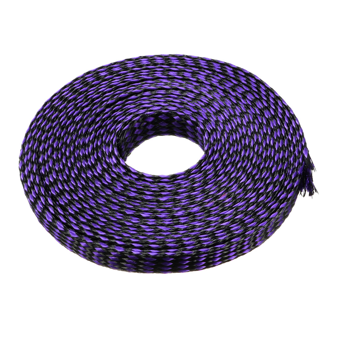 12mm Dia Tight Braided PET Expandable Sleeving Cable Wrap Sheath Black Purple 16Ft Length