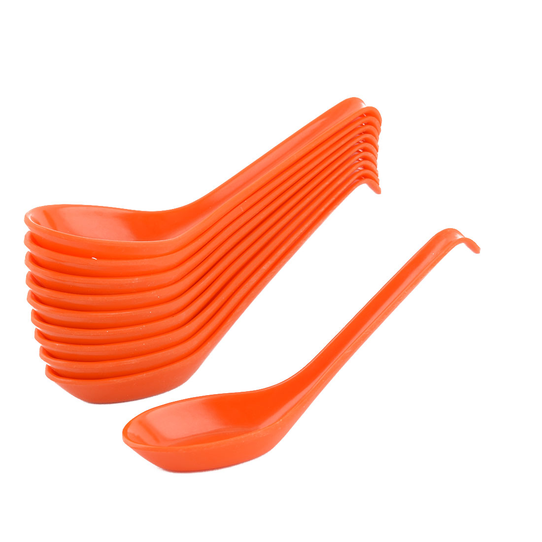 Plastic Household Kitchen Restaurant Porridge Soup Spoon Orange 16 x 4cm 10 PCS