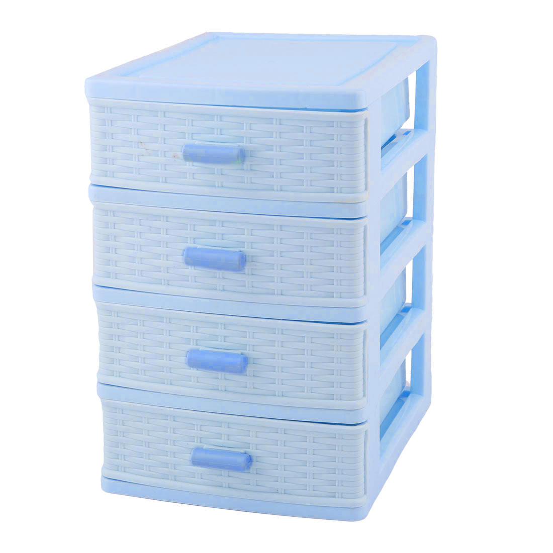 Bedroom Room Plastic 4 Layers Cosmetics Sock Jewelry Storage Box Case Light Blue