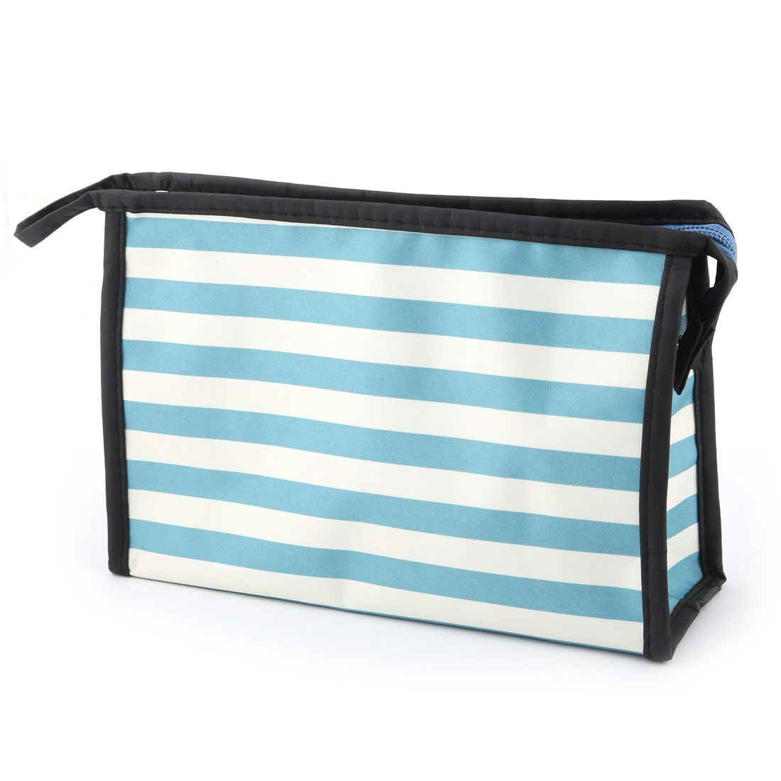 Lady Polyester Stripes Pattern Zipper Closure Cosmetic Makeup Organizer Bag Blue