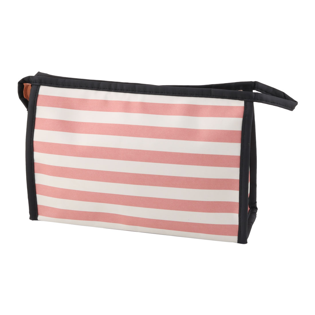 Lady Polyester Stripes Pattern Zipper Closure Cosmetic Makeup Organizer Bag Pink