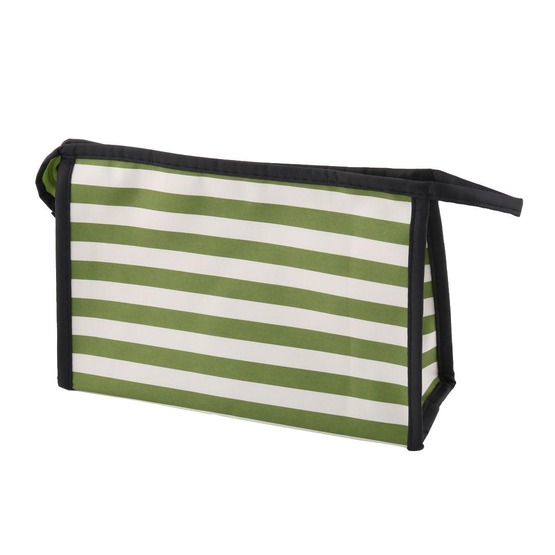 Lady Polyester Stripes Pattern Zipper Closure Cosmetic Makeup Organizer Bag Green