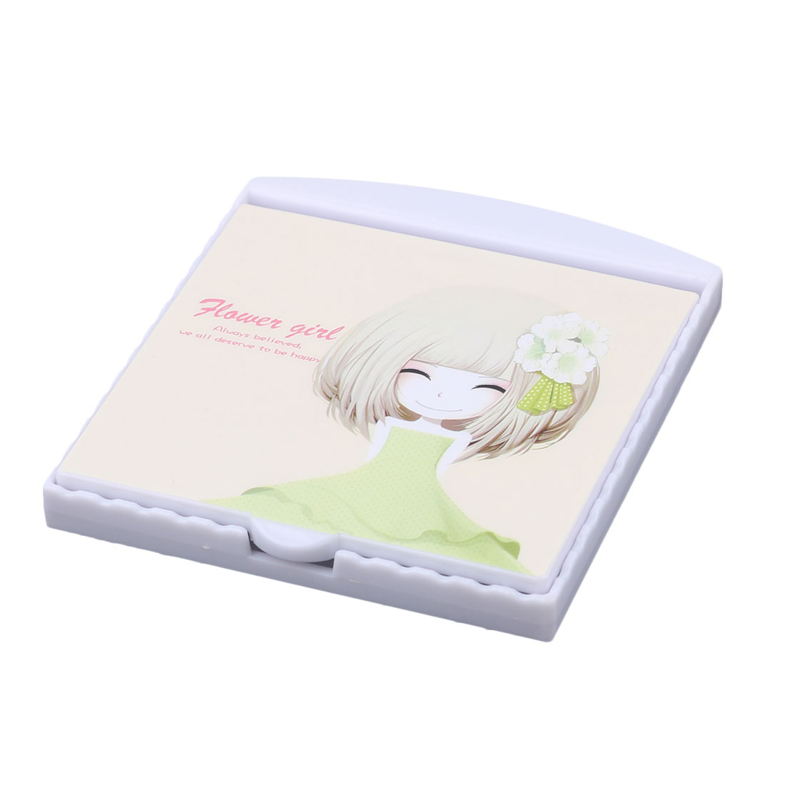 Home Woman Plastic Girl Pattern Folding Mini Makeup Cosmetic Mirror Comb White 2 in 1
