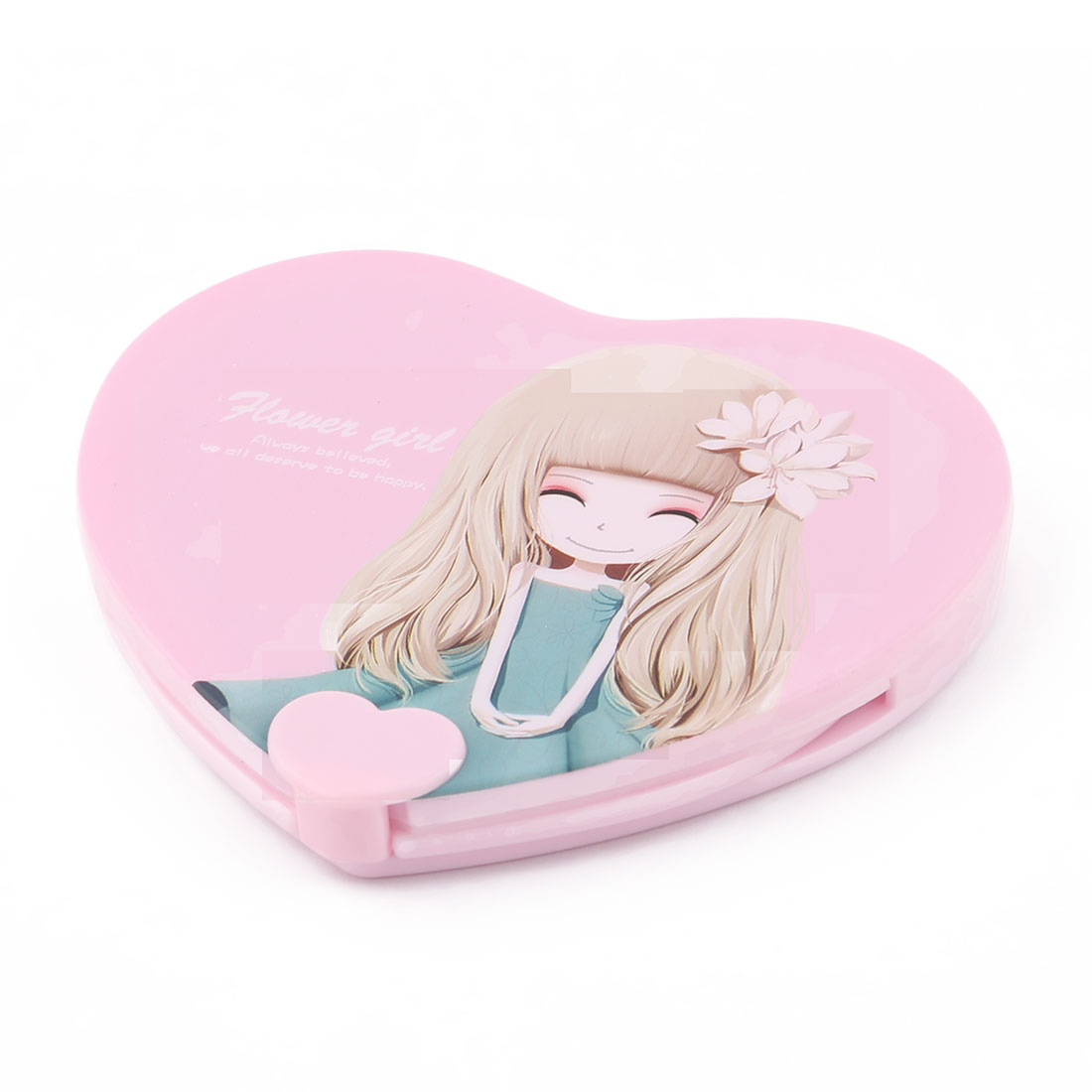 Home Lady Plastic Heart Shaped Folding Mini Makeup Cosmetic Mirror Comb 2 in 1