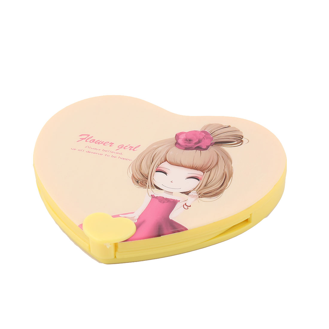 Household Woman Plastic Heart Shaped Folding Mini Makeup Cosmetic Mirror Comb 2 in 1