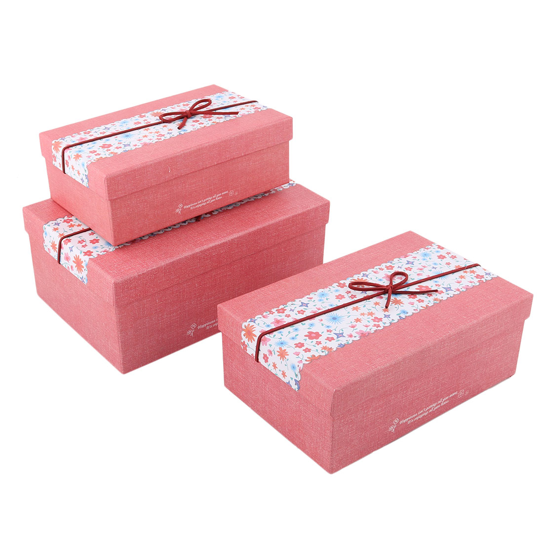 Birthday Christmas Cardboard Floral Pattern Gift Present Candy Case Box 3 in 1
