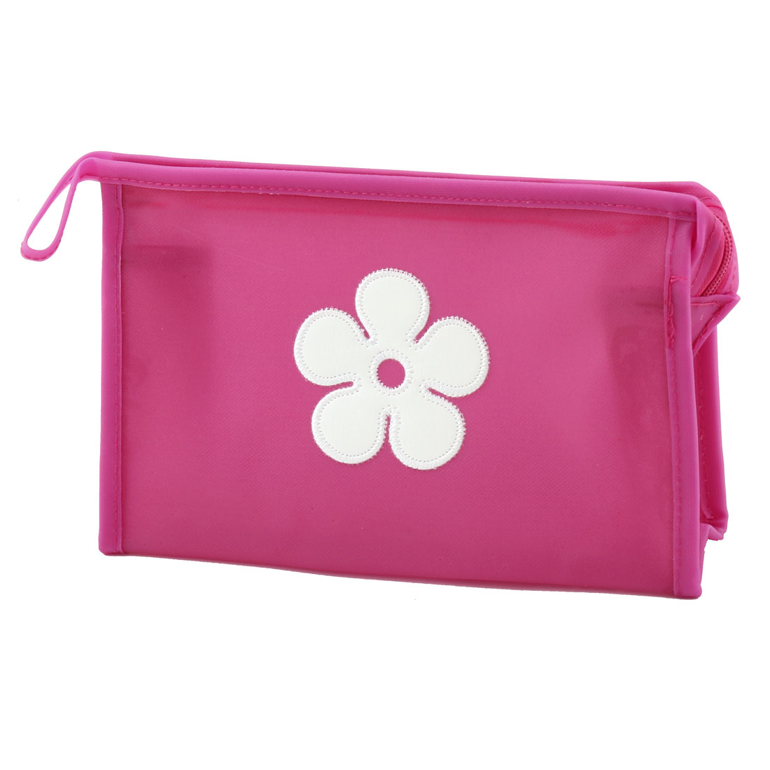 Outdoor Traveling Polyester Flower Pattern Single Layer Cosmetic Container Bag Fuchsia