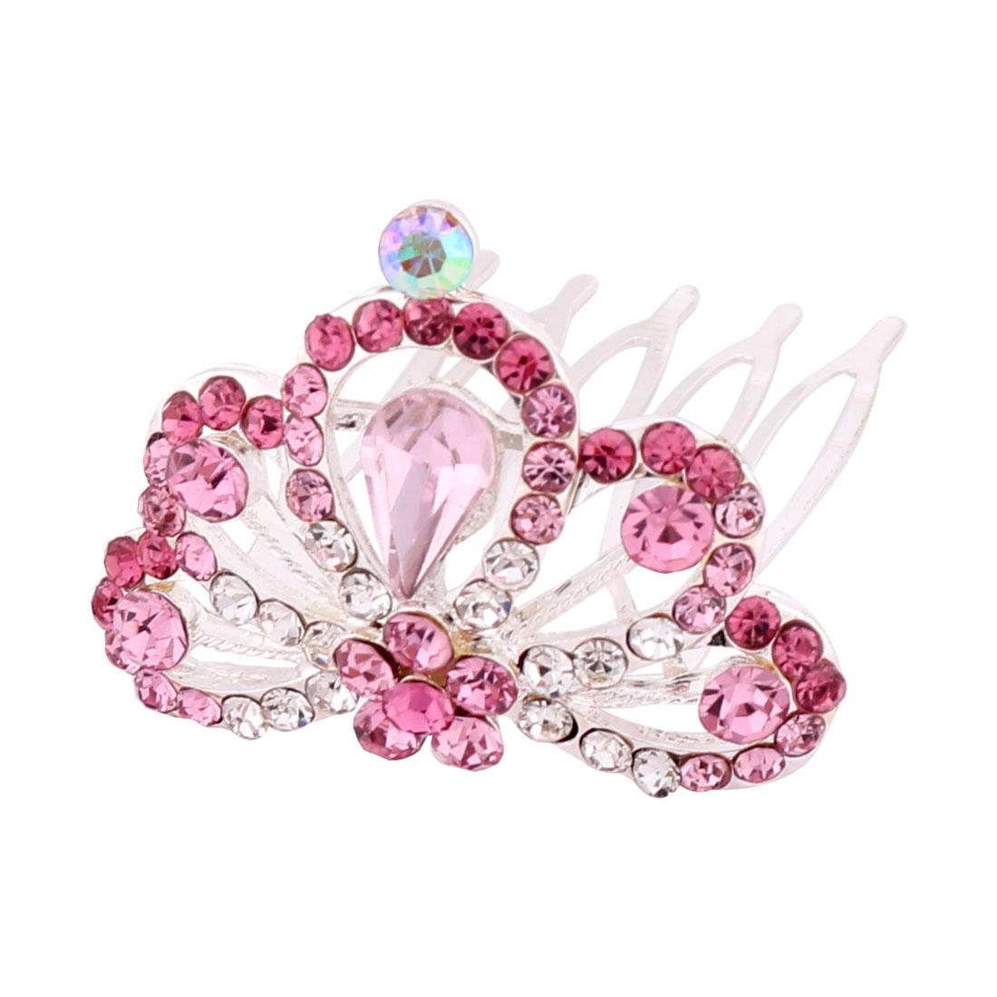 Ladies Wedding Party Plastic Glaring Rhinstone Hair Decoration Crown Pink