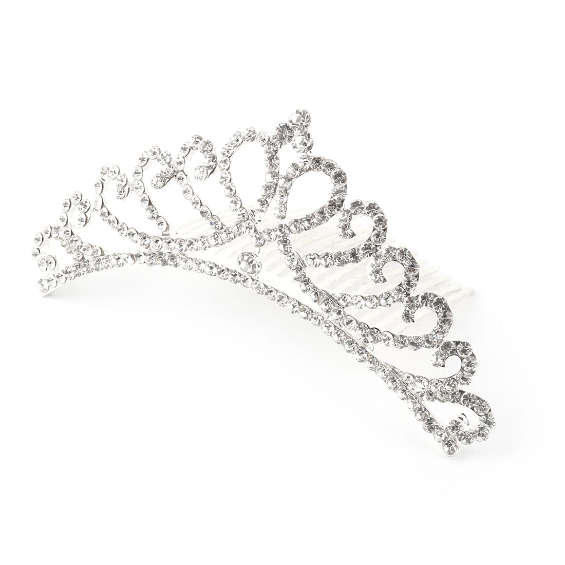 Women Party Rhinestone Decor Shining Bridal Crown Hair Comb Tiara Headpiece