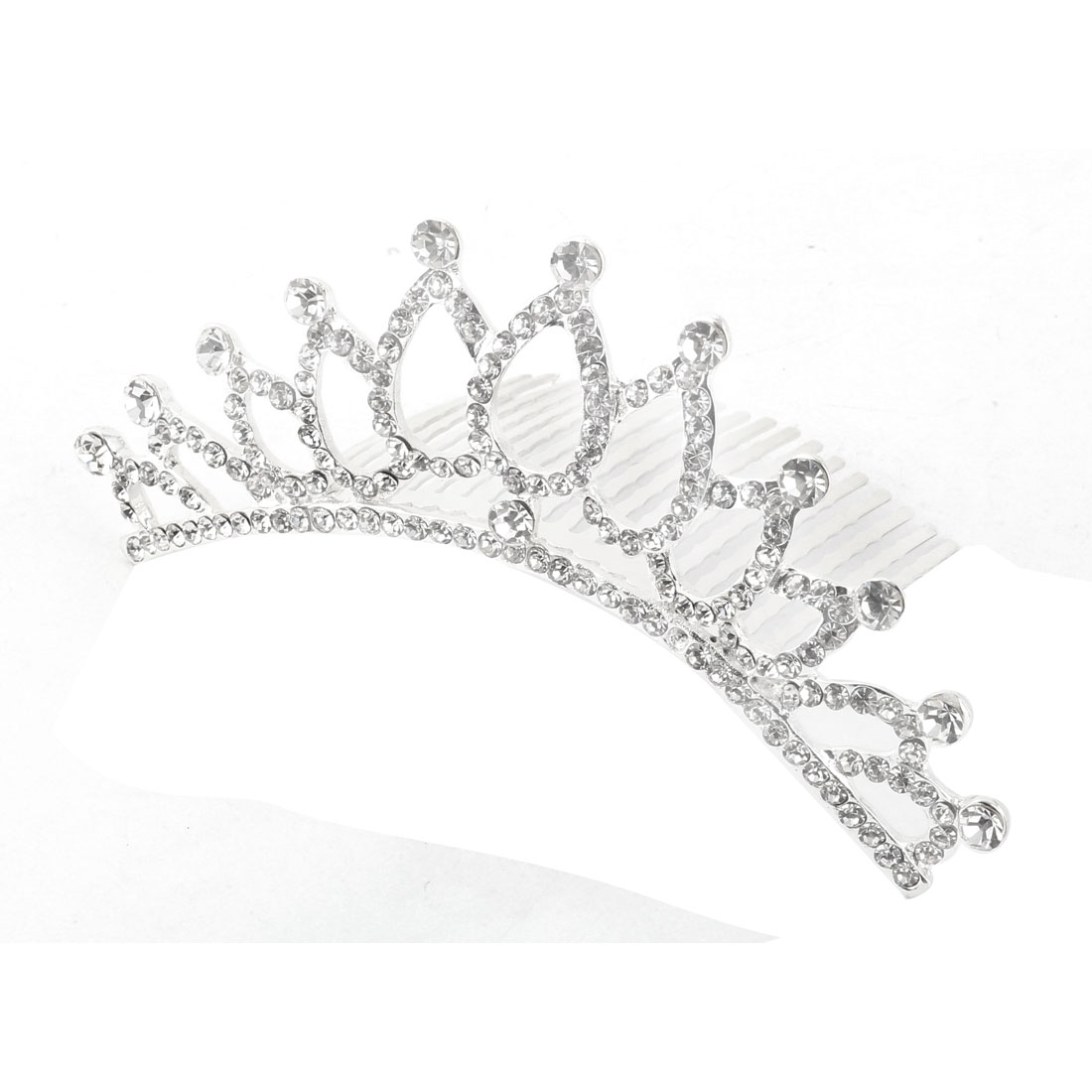 Ladies Party Rhinestone Decor Shining Bridal Crown Hair Comb Tiara Headpiece