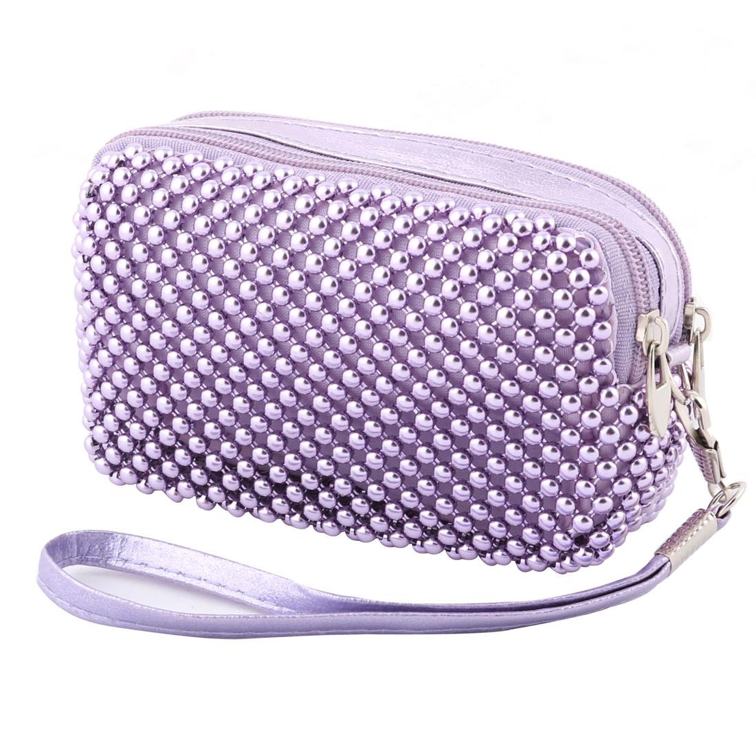 Women Plastic Beads Decor Strap Hanging Zipper Closure Purse Bag Purple