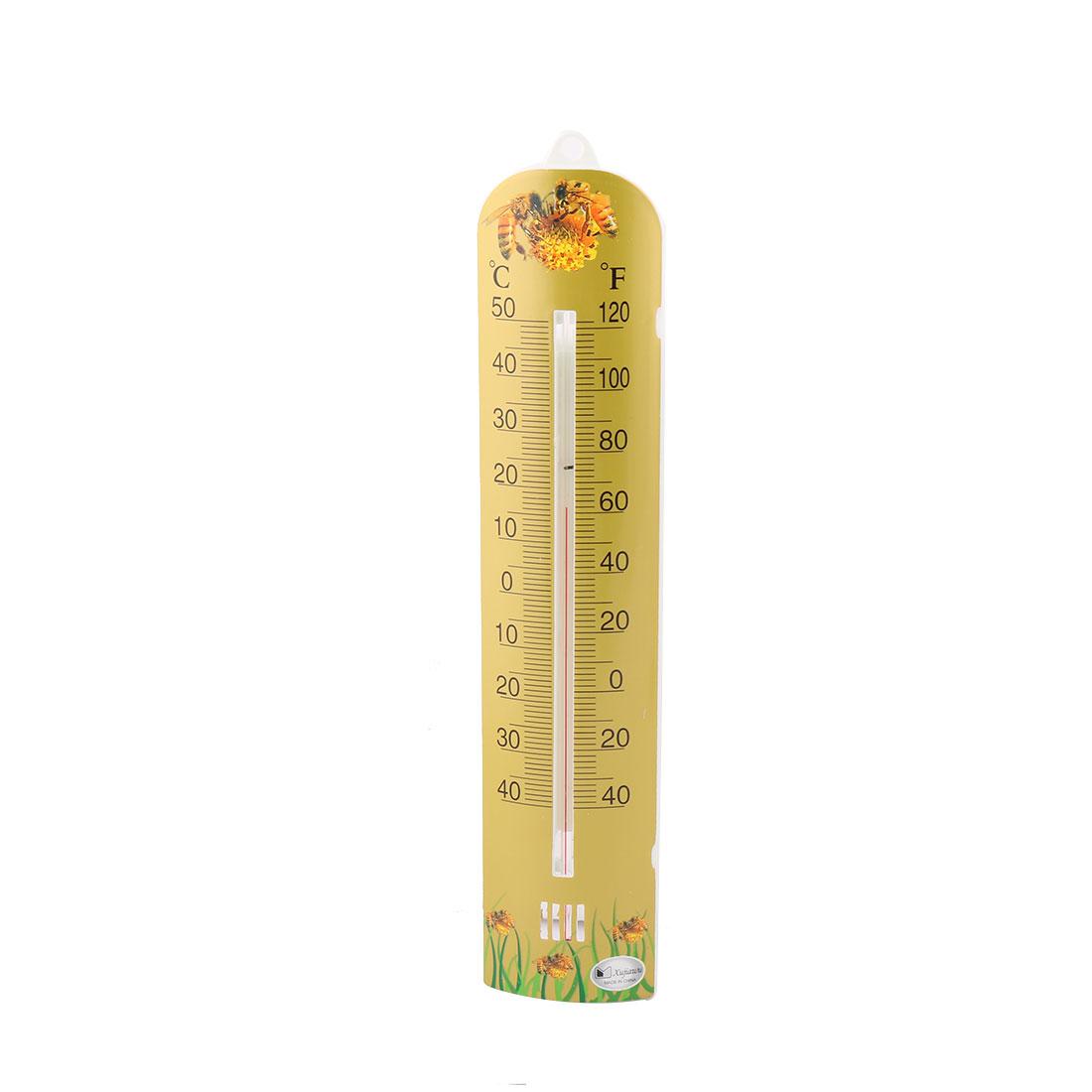 Household Plastic Centigrade Fahrenheit Degree Digital Thermometer Olive Yellow