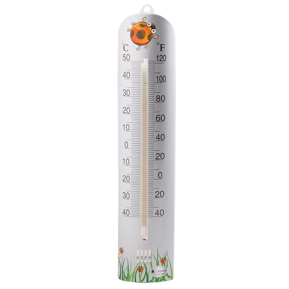 Household Plastic Centigrade Fahrenheit Degree Digital Thermometer Silver Tone
