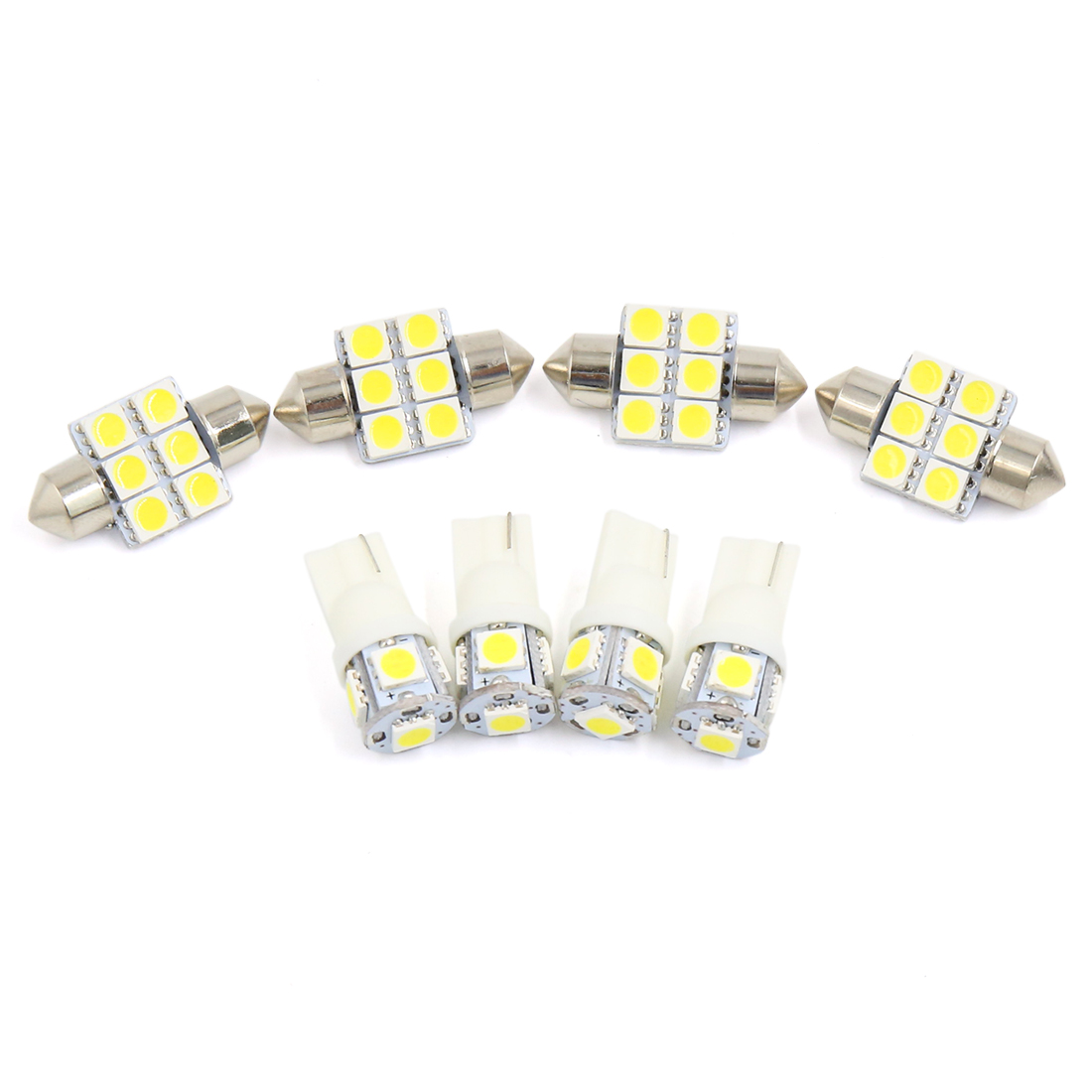 8PCS White Car Auto Dome Map LED Lights Interior Package Kit