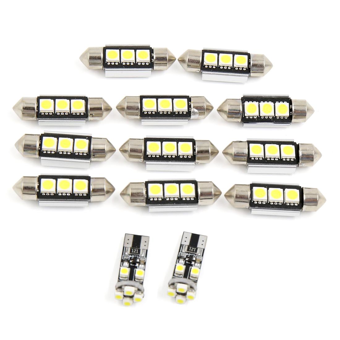 13PCS White Car Interior Reading Lamp LED Light Kit No Error for Audi A8 / S8 (D3) 2002-2009