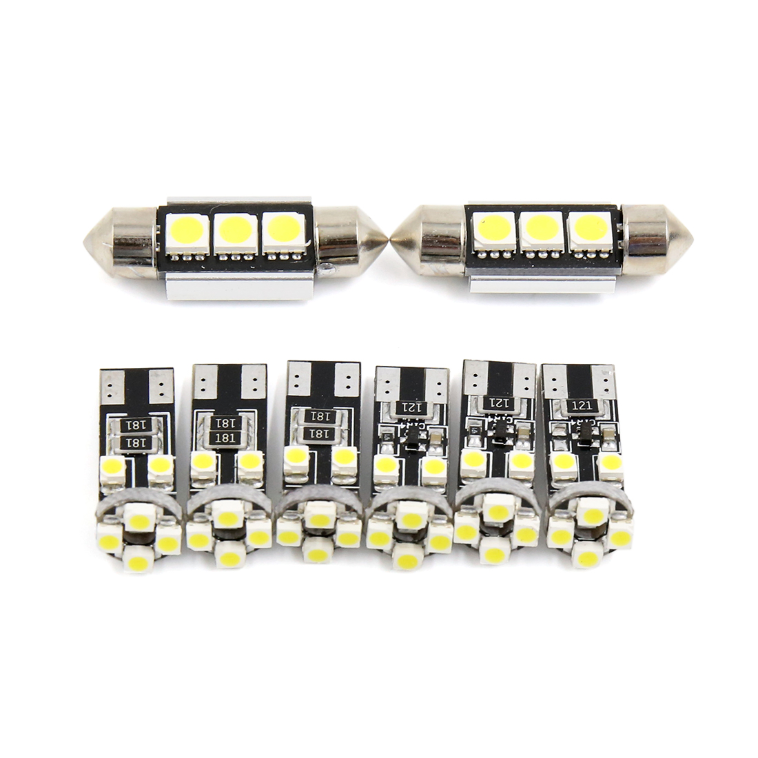 8PCS Canbus White Car Auto Dome Map LED Lights Interior Package Kit
