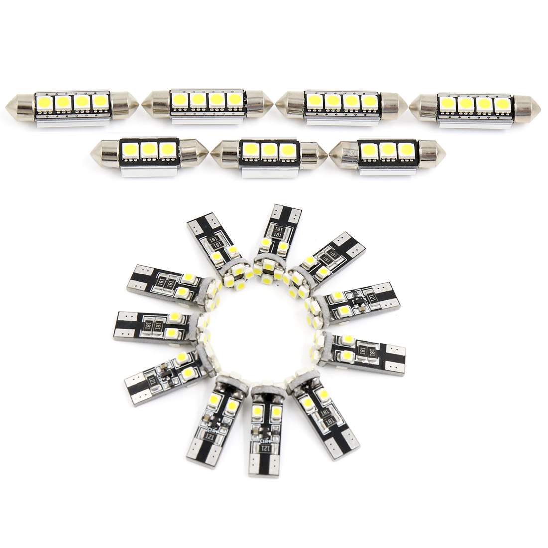 18PCS Canbus White Car Auto Dome Map LED Lights Interior Package Kit