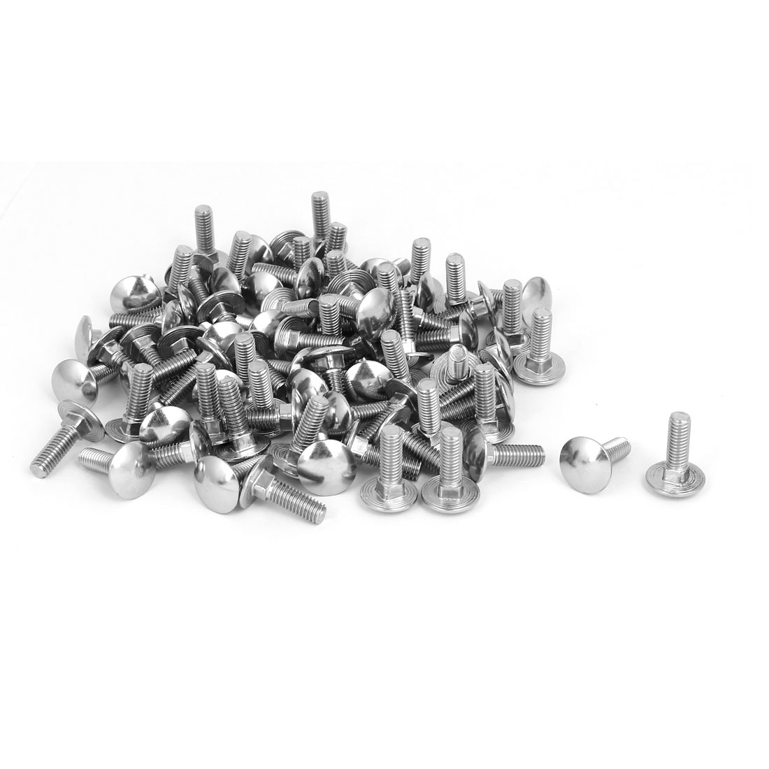 M6x20mm 304 Stainless Steel Fully Thread Square Neck Carriage Bolts DIN603 80pcs