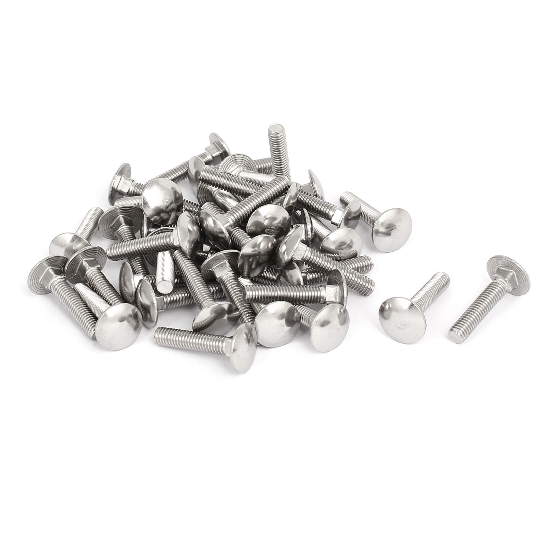 M6x30mm 304 Stainless Steel Fully Thread Square Neck Carriage Bolts DIN603 40pcs