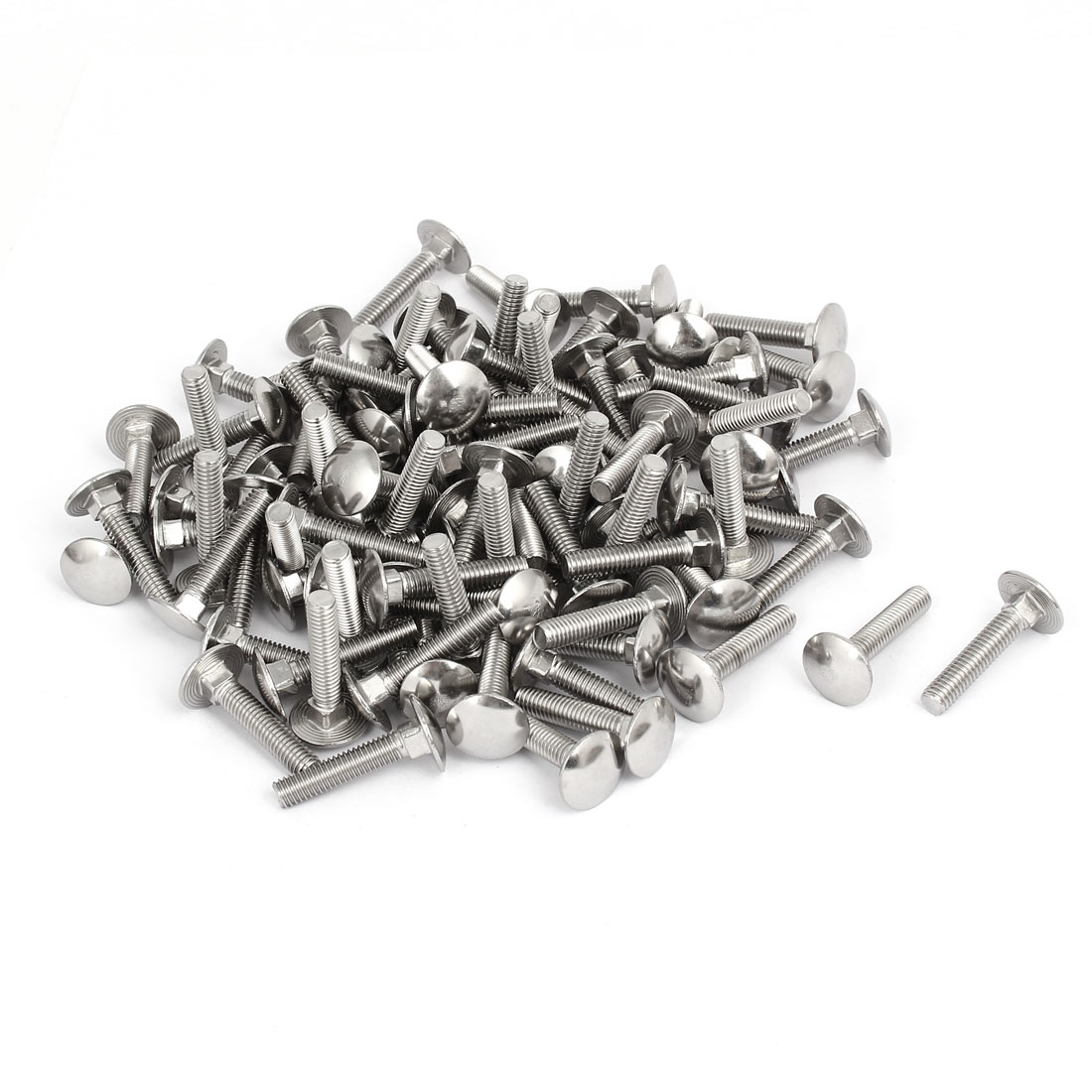 M6x30mm 304 Stainless Steel Round Head Square Neck Carriage Bolts DIN603 100pcs