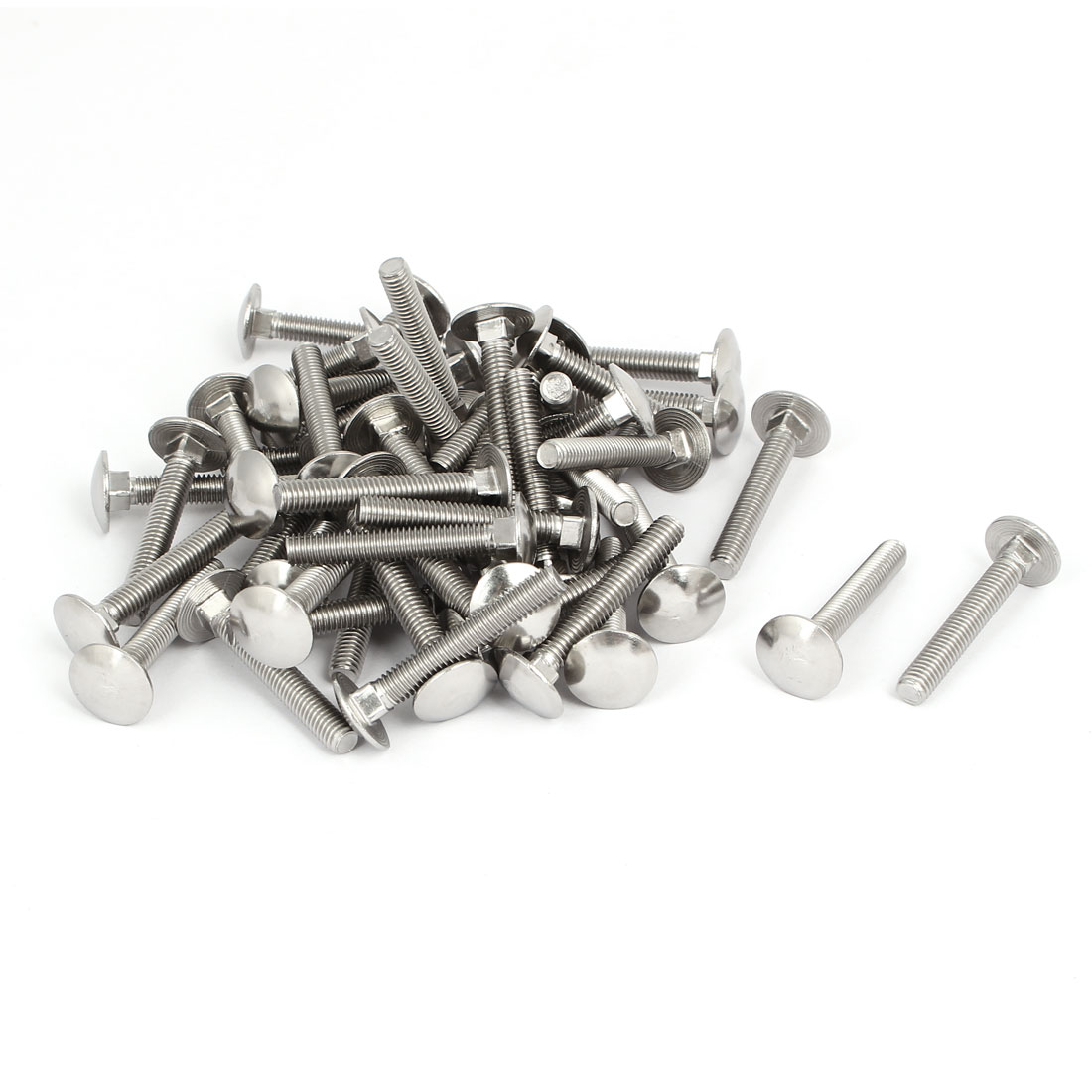 M6x40mm 304 Stainless Steel Fully Thread Square Neck Carriage Bolts DIN603 50pcs