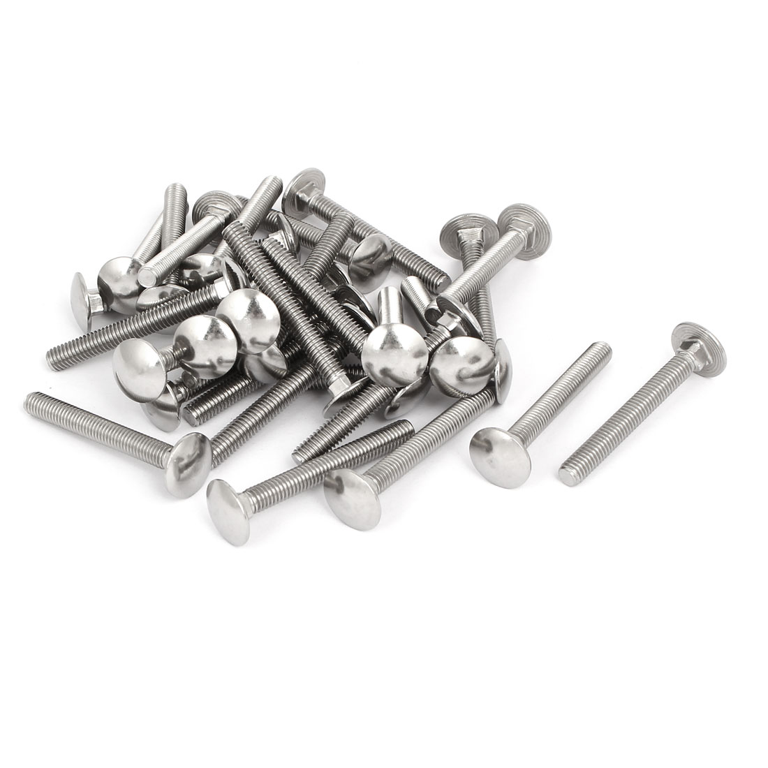 M6x50mm 304 Stainless Steel Fully Thread Square Neck Carriage Bolts DIN603 30pcs