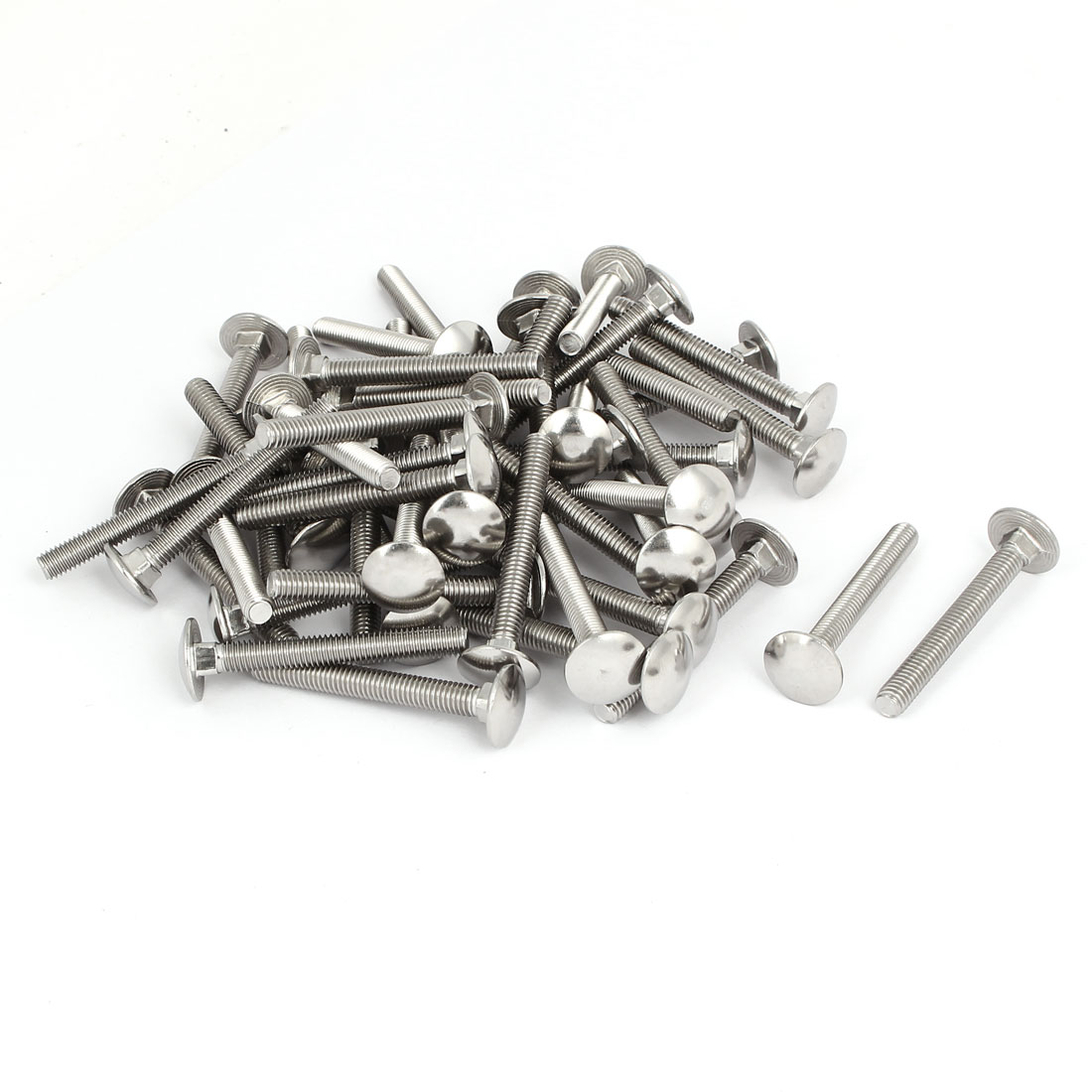 M6x50mm 304 Stainless Steel Fully Thread Square Neck Carriage Bolts DIN603 50pcs