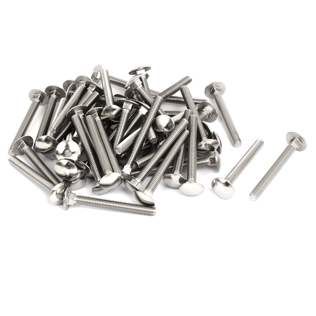 M6x55mm 304 Stainless Steel Fully Thread Square Neck Carriage Bolts DIN603 50pcs