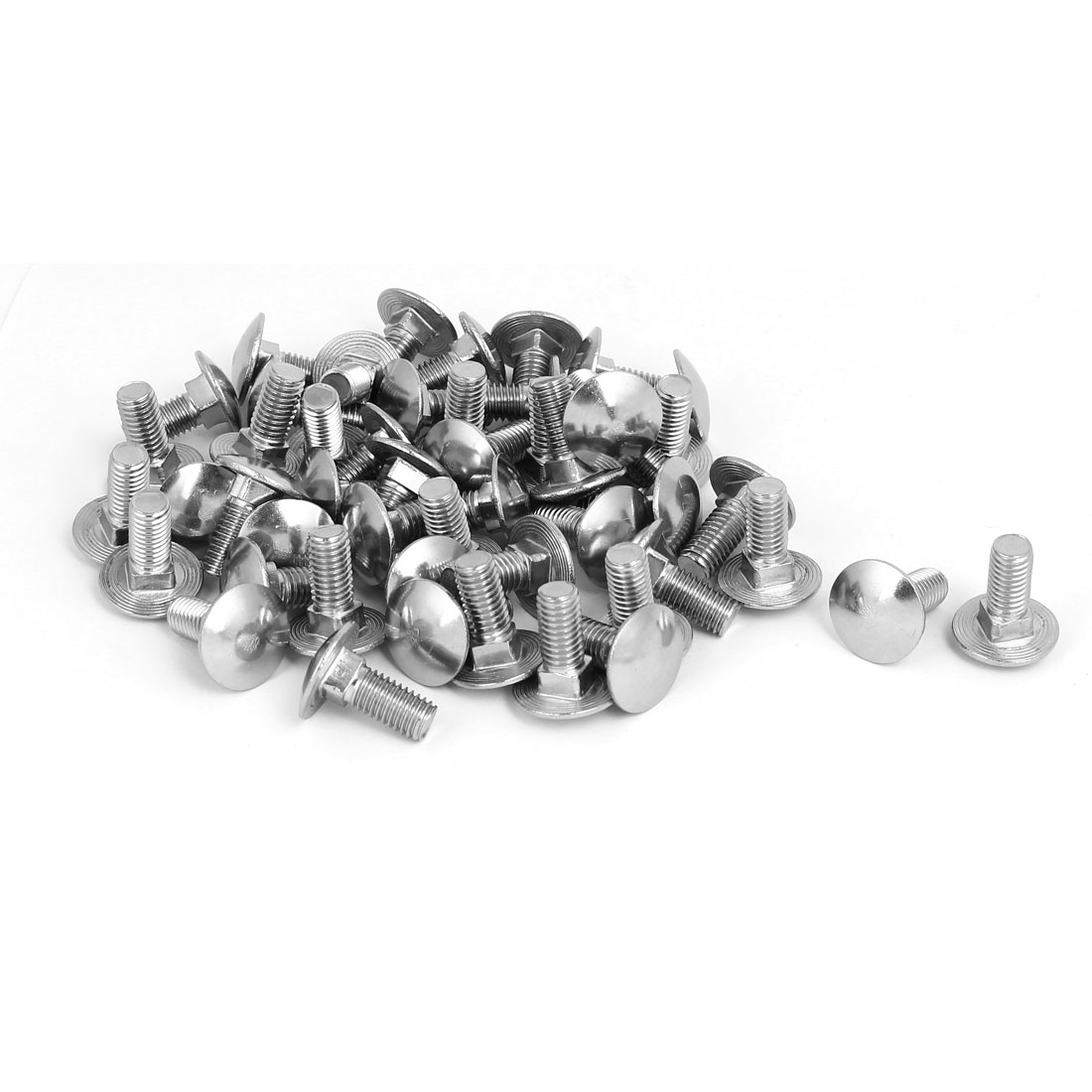 M8x20mm 304 Stainless Steel Round Cap Square Neck Trailer Carriage Bolts 50pcs