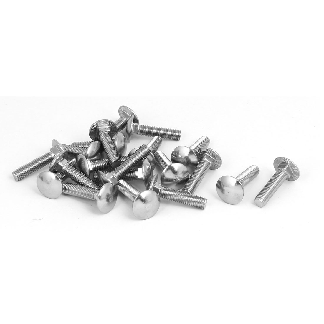 M8x35mm 304 Stainless Steel Round Cap Square Neck Trailer Carriage Bolts 20pcs