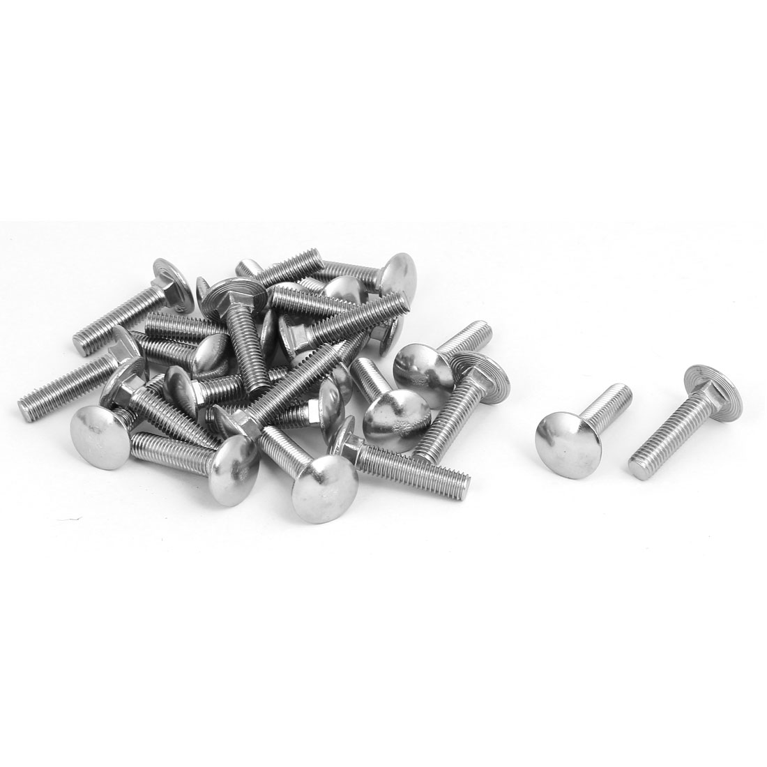 M8x35mm 304 Stainless Steel Round Cap Square Neck Trailer Carriage Bolts 25pcs