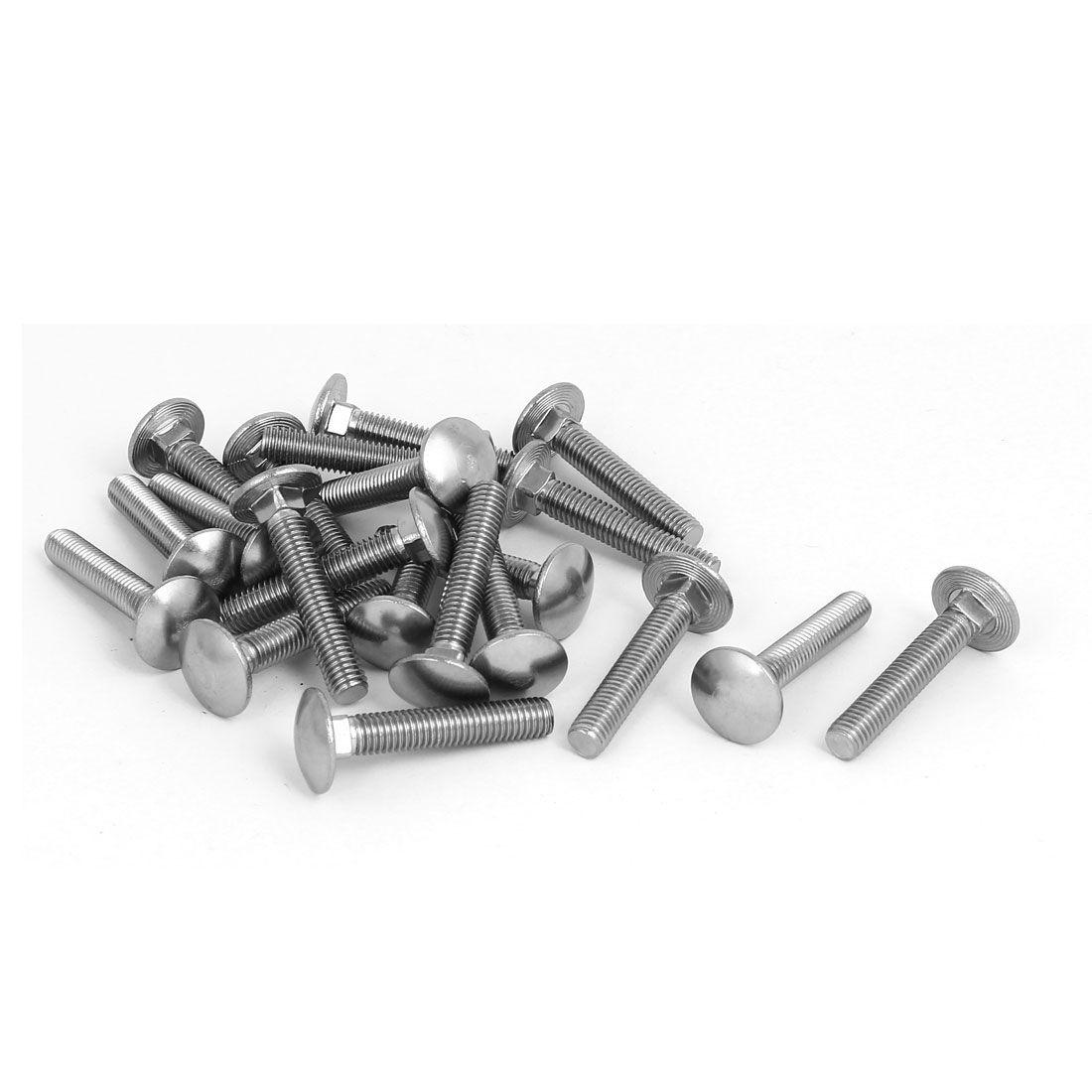 M8x45mm 304 Stainless Steel Round Cap Square Neck Trailer Carriage Bolts 20pcs