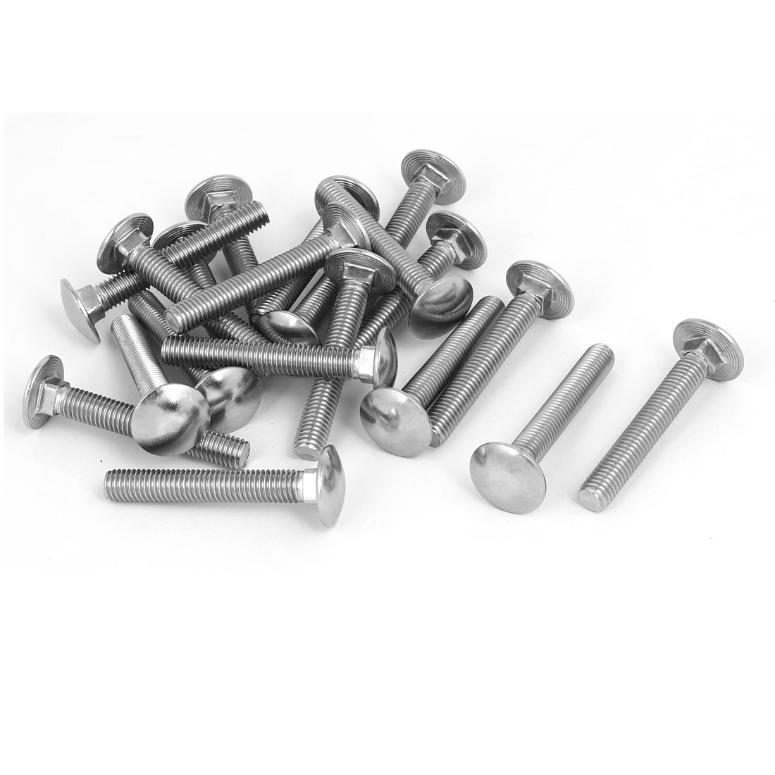 M8x55mm 304 Stainless Steel Round Cap Square Neck Trailer Carriage Bolts 20pcs